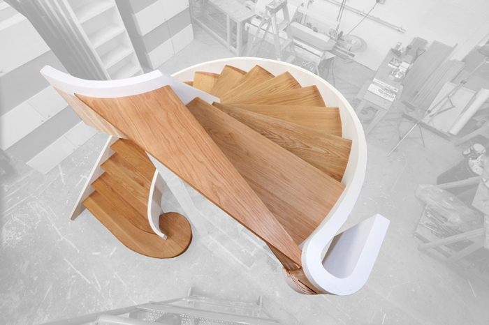 Spiral staircase in joinery workshop